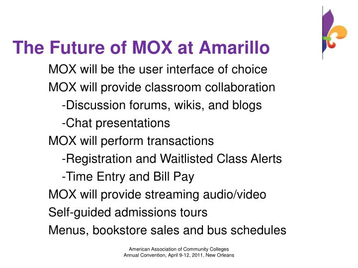 The Future of MOX at Amarillo