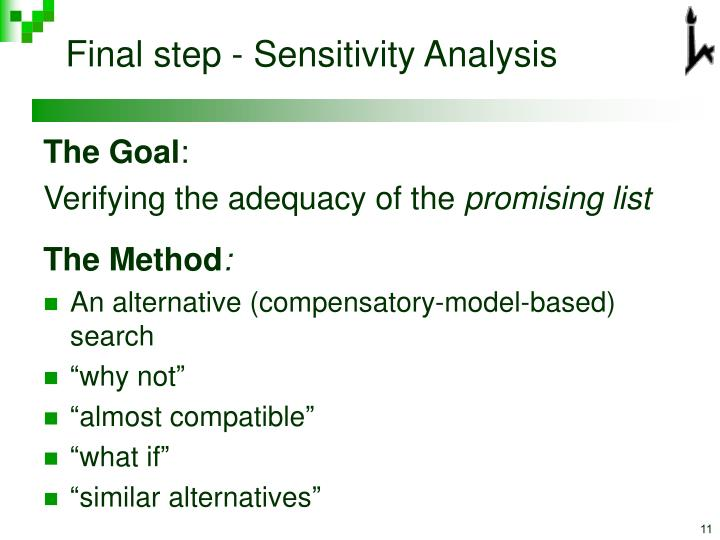 Final step - Sensitivity Analysis