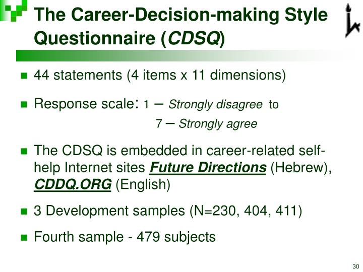 The Career-Decision-making Style Questionnaire (