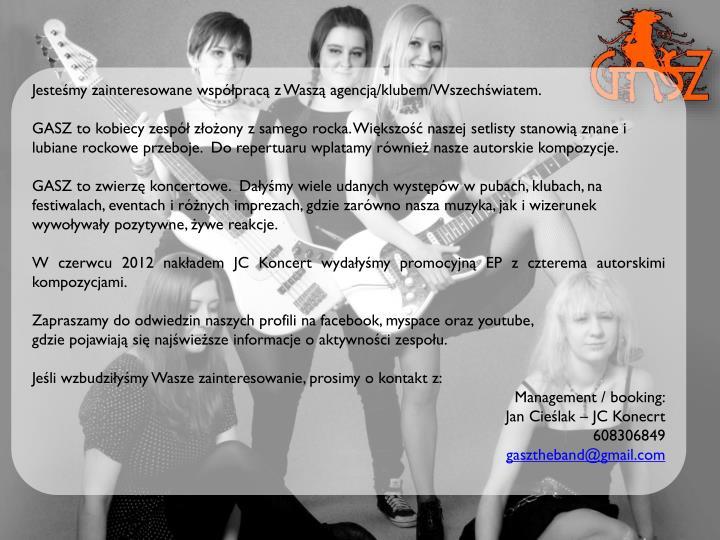 Jesteśmy zainteresowane współpracą z Waszą agencją/klubem/Wszechświatem.
