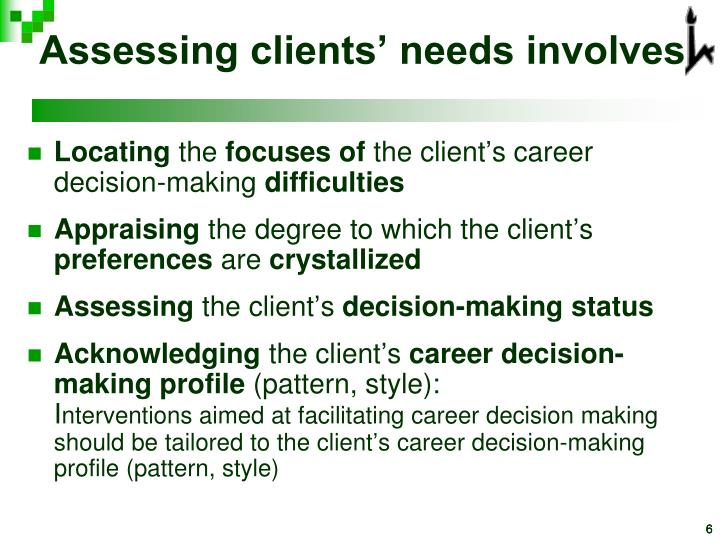 Assessing clients' needs involves