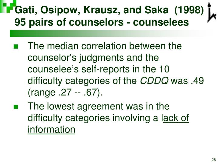 Gati, Osipow, Krausz, and Saka  (1998) 95 pairs of counselors - counselees