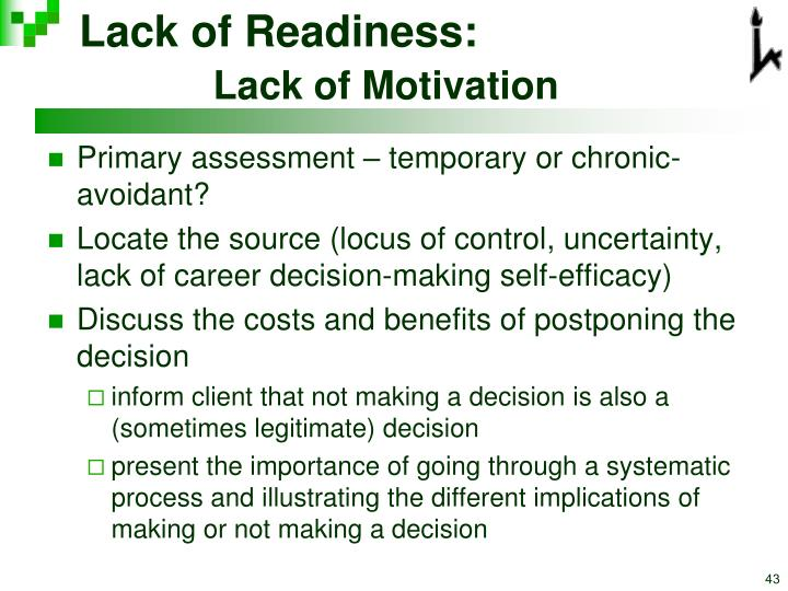 Lack of Readiness:
