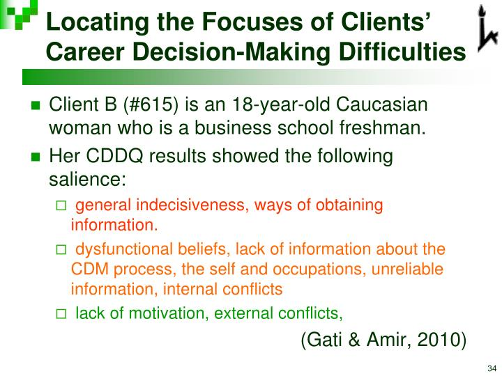 Locating the Focuses of Clients' Career Decision-Making Difficulties