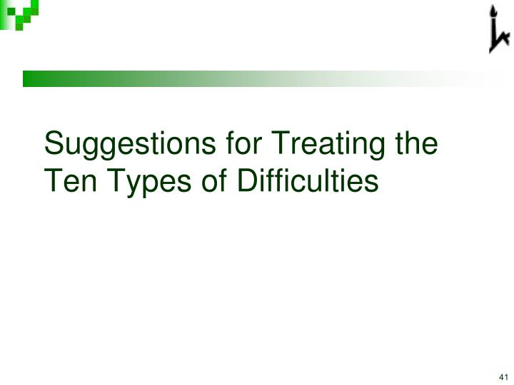 Suggestions for Treating the Ten Types of Difficulties