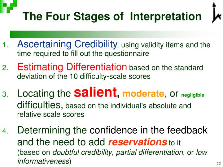 The Four Stages of  Interpretation