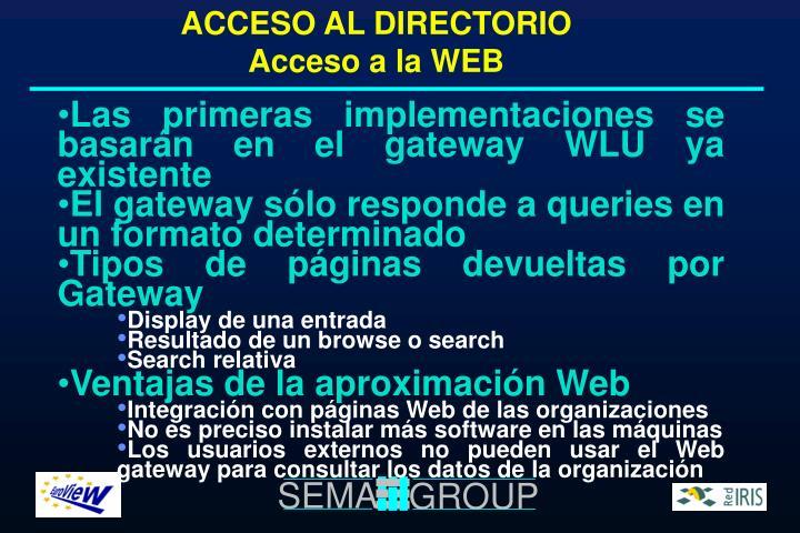 ACCESO AL DIRECTORIO Acceso a la WEB