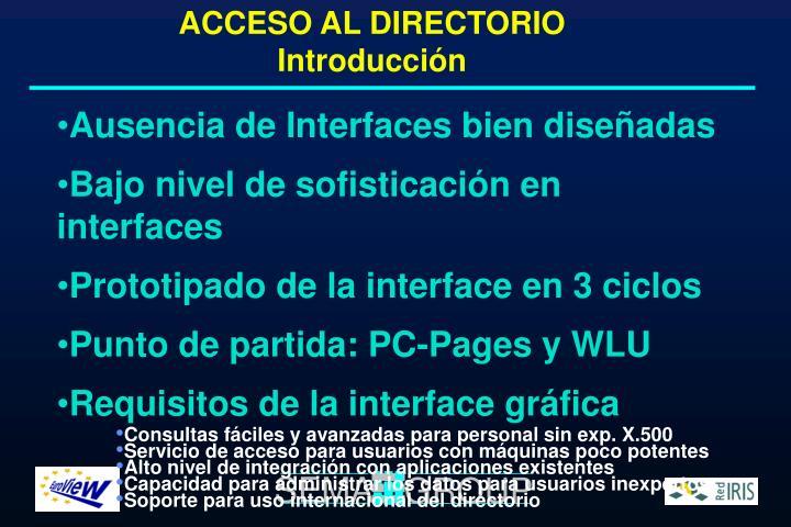 ACCESO AL DIRECTORIO Introducción