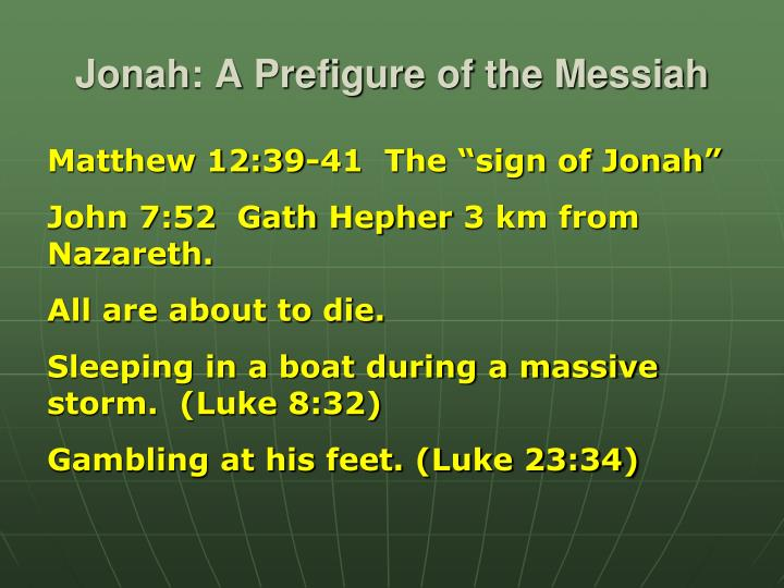 Jonah: A Prefigure of the Messiah