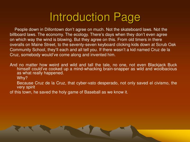 Introduction Page