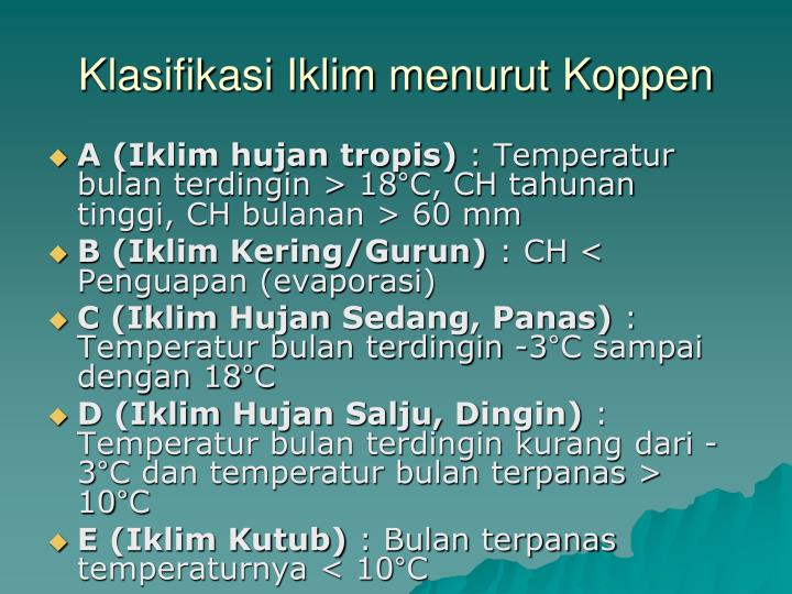 Klasifikasi Iklim menurut Koppen