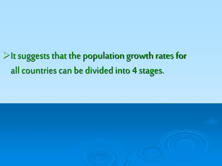 It suggests that the population growth rates for all countries can be divided into 4 stages.