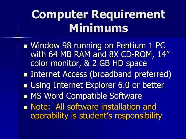 Computer Requirement
