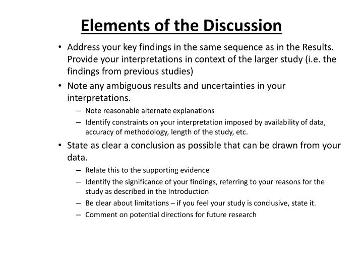 Elements of the Discussion