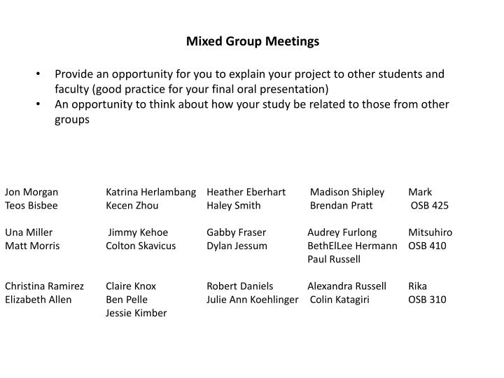 Mixed Group Meetings