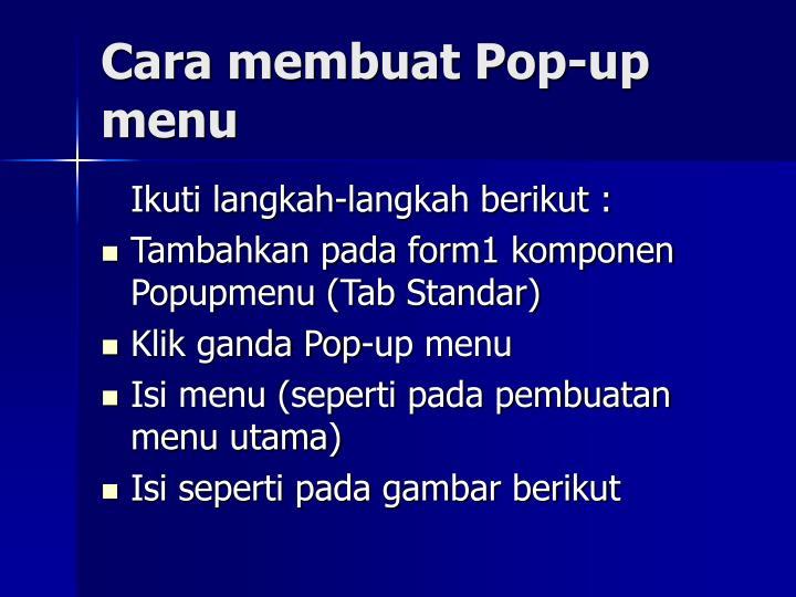 Cara membuat Pop-up menu