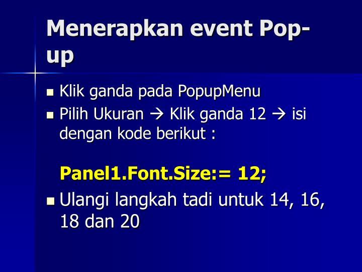 Menerapkan event Pop-up