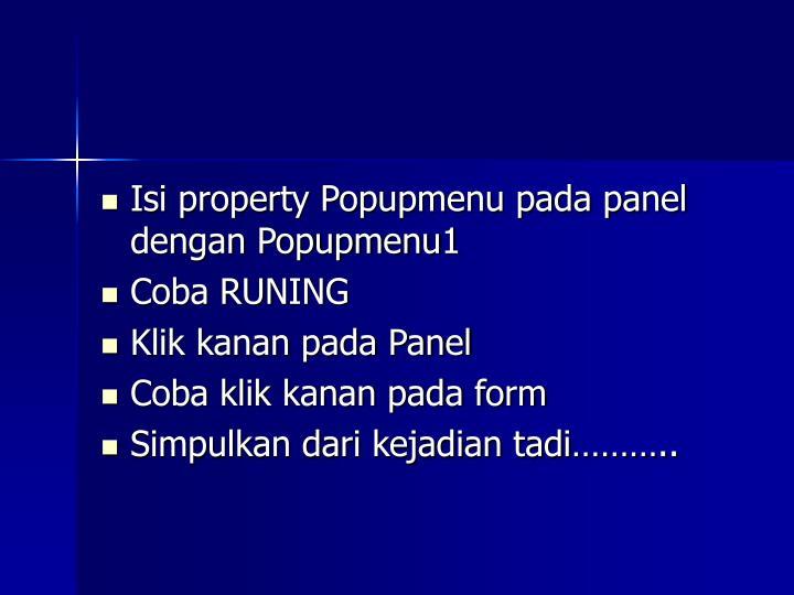 Isi property Popupmenu pada panel dengan Popupmenu1