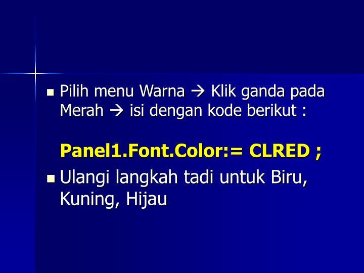 Pilih menu Warna