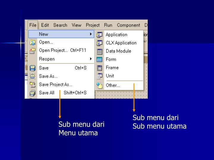 Sub menu dari Sub menu utama