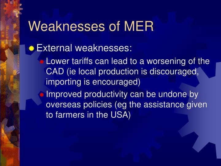 Weaknesses of MER