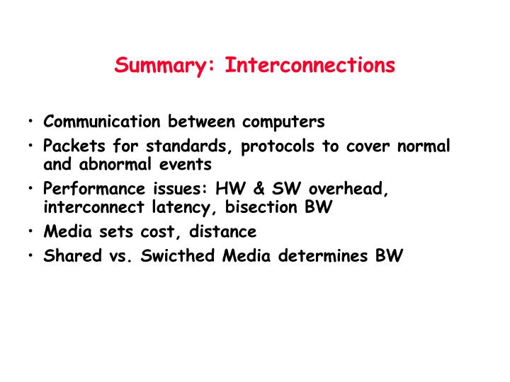 Summary: Interconnections