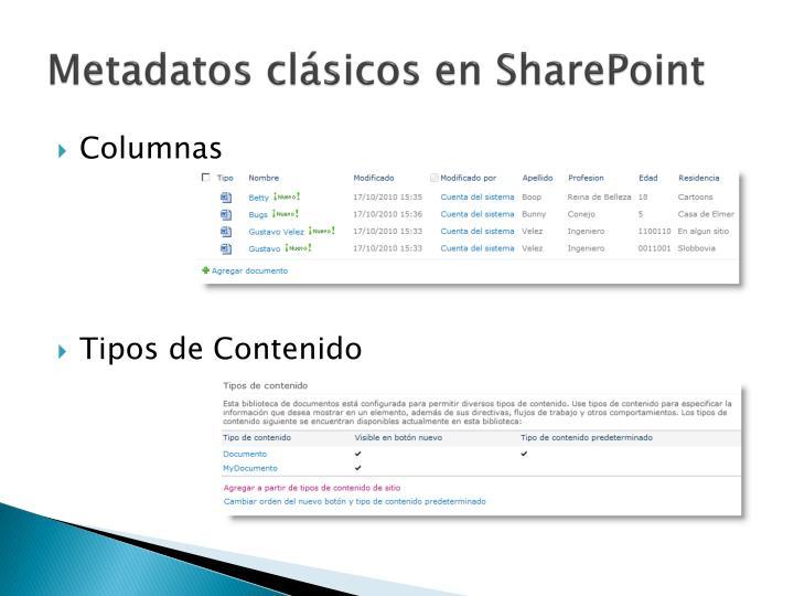 Metadatos clásicos en SharePoint