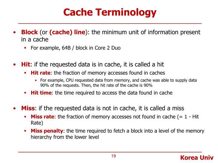 Cache Terminology
