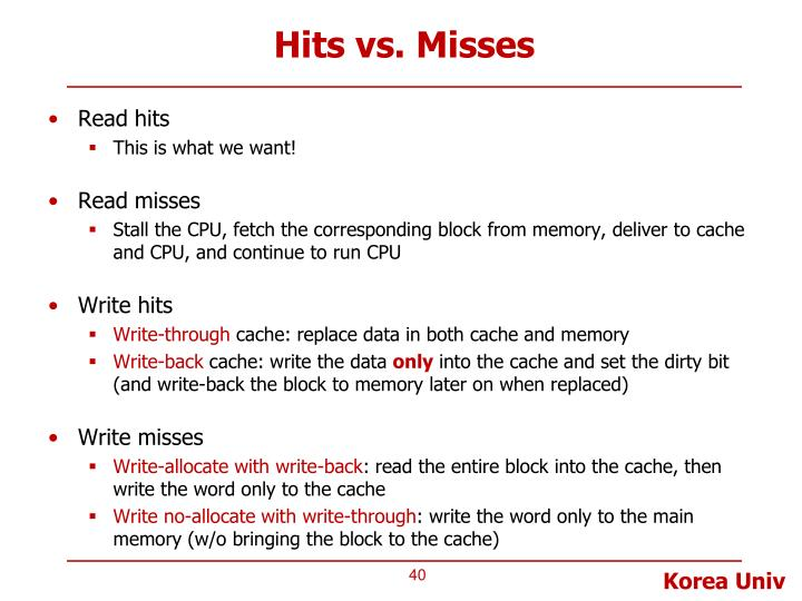 Hits vs. Misses