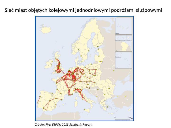 Sieć miast objętych kolejowymi jednodniowymi podróżami służbowymi