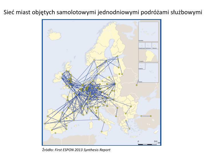 Sieć miast objętych samolotowymi jednodniowymi podróżami służbowymi