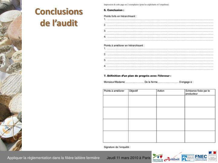 Conclusions de l'audit