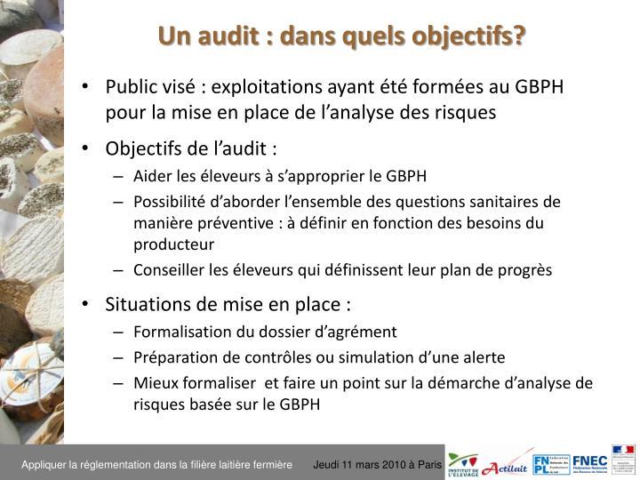 Un audit : dans quels objectifs?