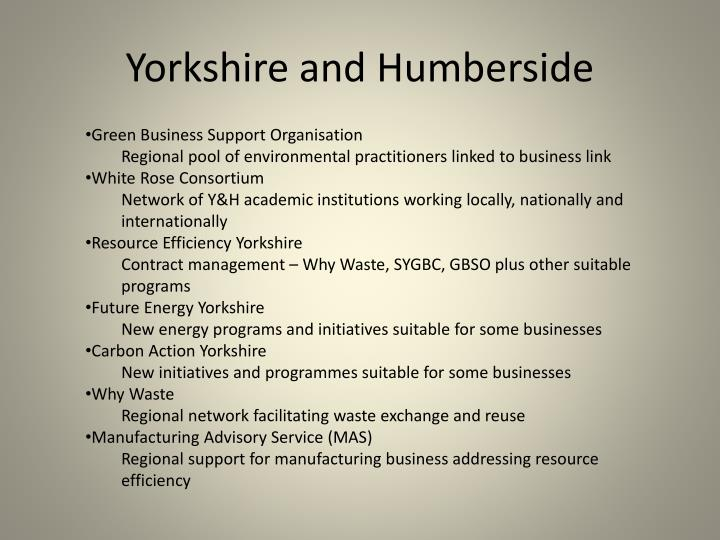 Yorkshire and Humberside