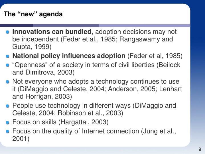 """The """"new"""" agenda"""