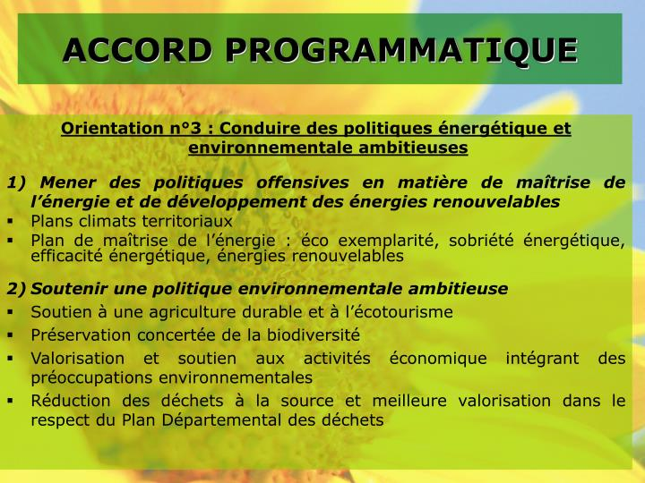 ACCORD PROGRAMMATIQUE