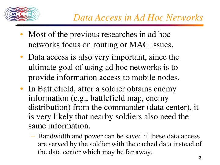 Data Access in Ad Hoc Networks