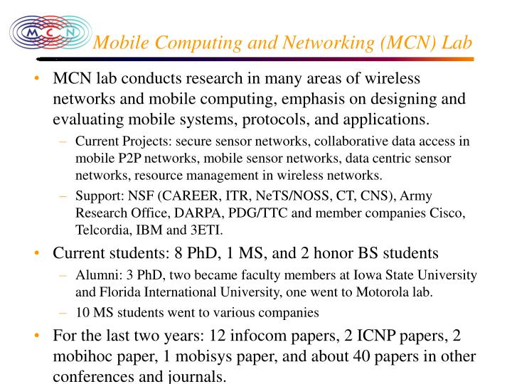 Mobile Computing and Networking (MCN) Lab