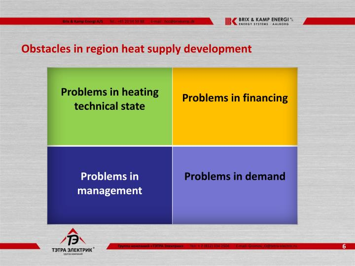 Obstacles in region heat supply development
