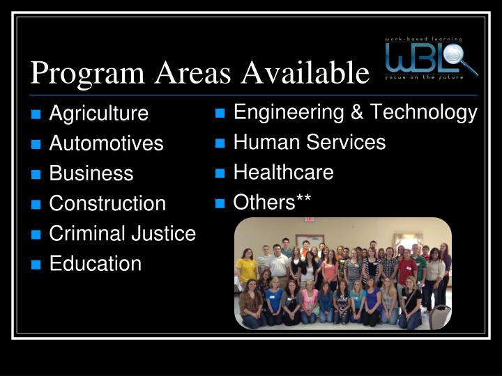 Program areas available