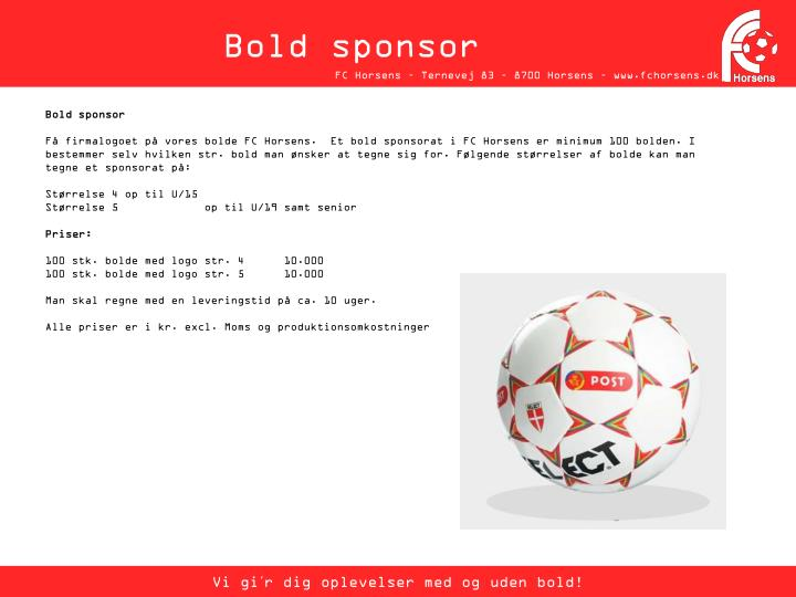 Bold sponsor
