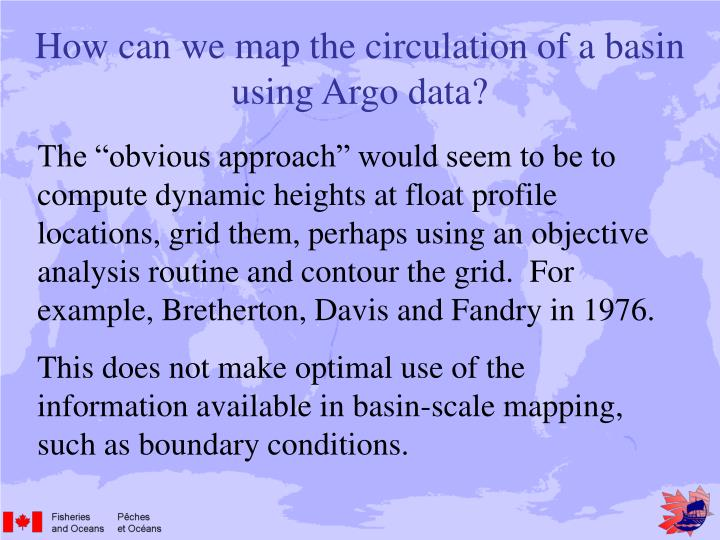 How can we map the circulation of a basin using Argo data?