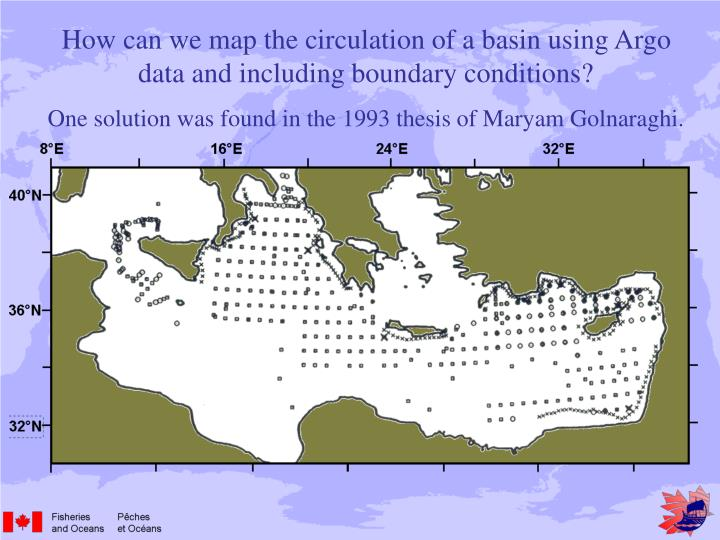 How can we map the circulation of a basin using Argo data and including boundary conditions?