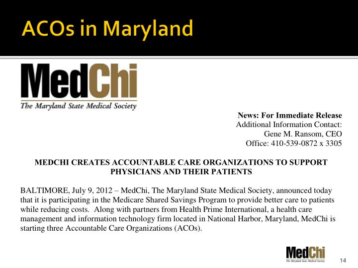 ACOs in Maryland