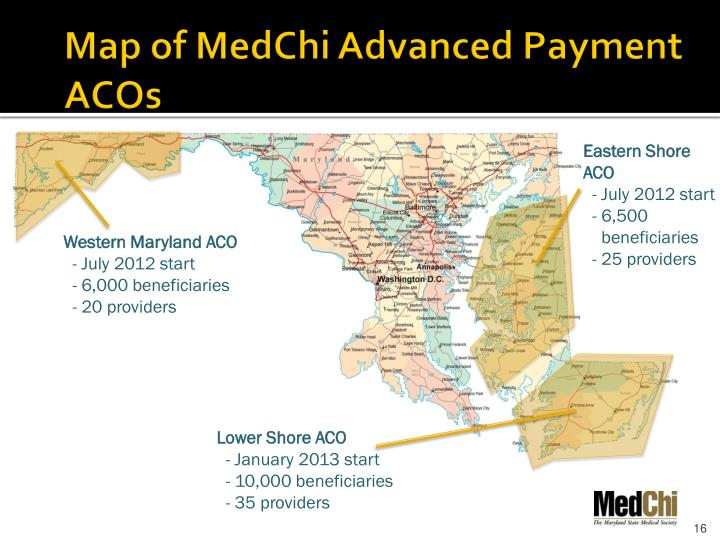 Map of MedChi Advanced Payment ACOs
