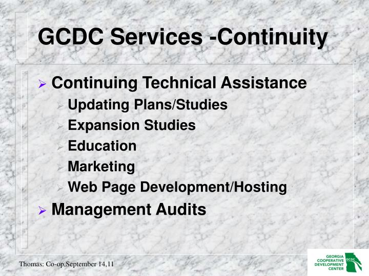 GCDC Services -Continuity