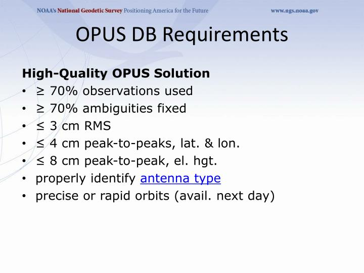 OPUS DB Requirements