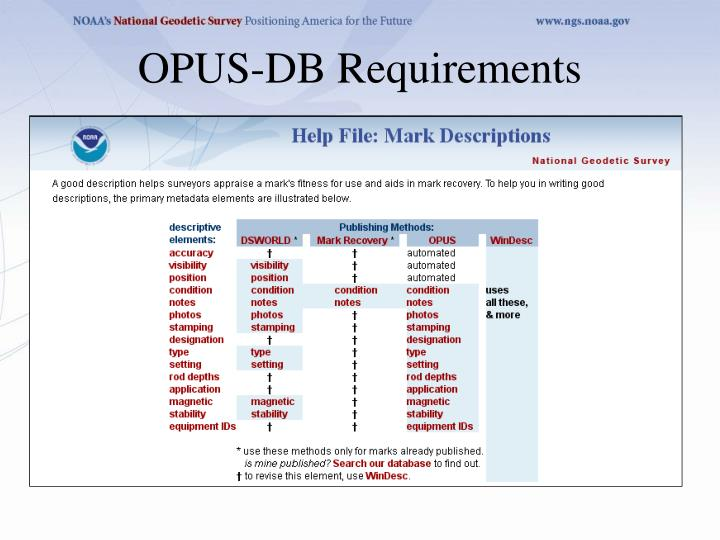 OPUS-DB Requirements