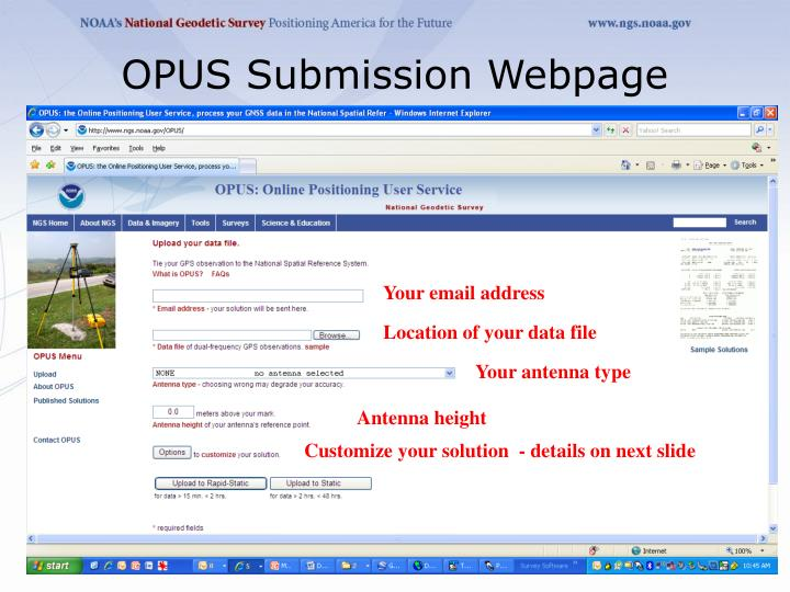 OPUS Submission Webpage