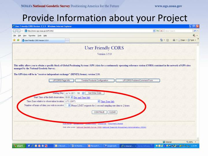 Provide Information about your Project